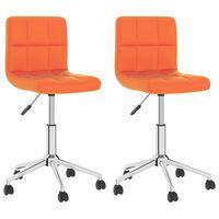 vidaXL Chaises de salle à manger pivotantes 2 pcs Orange Similicuir