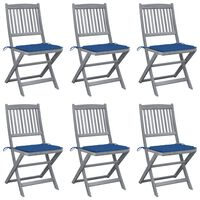vidaXL Chaises pliables d'extérieur 6 pcs avec coussins Bois d'acacia