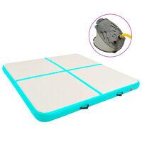 vidaXL Tapis gonflable de gymnastique avec pompe 200x200x20cm PVC Vert