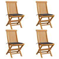 vidaXL Chaises de jardin avec coussins anthracite 4 pcs Bois de teck