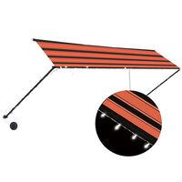 vidaXL Auvent rétractable avec LED 400x150 cm Orange et marron