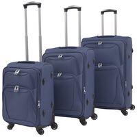 vidaXL Jeu de valises souples 3 pcs Bleu marine
