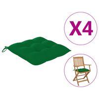 vidaXL Coussins de chaise 4 pcs 40x40x7 cm Vert