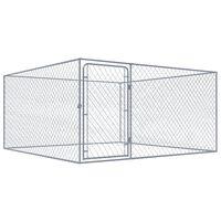 vidaXL Chenil extérieur pour chiens Acier galvanisé 2x2x1 m