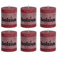 Bolsius Bougies pilier rustiques 6 pcs 80 x 68 mm Rouge bordeaux