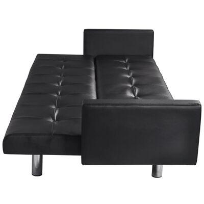 vidaXL Canapé-lit avec accoudoir Cuir synthétique Noir