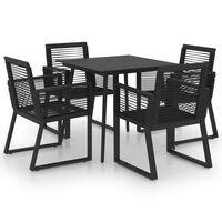 vidaXL Ensemble à dîner d'extérieur 5 pcs Rotin PVC Noir