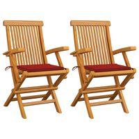 vidaXL Chaises de jardin avec coussins rouge 2 pcs Bois de teck massif