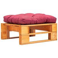 vidaXL Repose-pied palette de jardin et coussin rouge Marron miel Bois