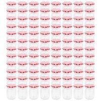 vidaXL Pots à confiture Couvercle blanc et rouge 96 pcs Verre 230 ml
