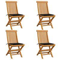 vidaXL Chaises de jardin avec coussins noir 4 pcs Bois de teck massif