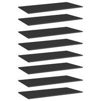 vidaXL Panneaux bibliothèque 8 pcs Noir brillant 80x20x1,5cm Aggloméré