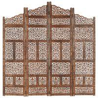 vidaXL Cloison de séparation 4 panneaux Marron 160x165cm Bois manguier