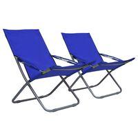 vidaXL Chaises pliables de plage 2 pcs Tissu Bleu