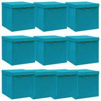 vidaXL Boîtes de rangement et couvercles 10 pcs Bleu 32x32x32 cm Tissu