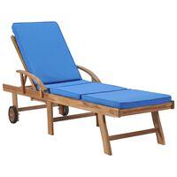 vidaXL Chaise longue avec coussin Bois de teck solide Bleu