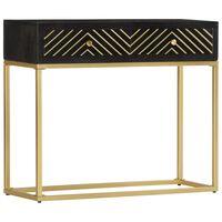 vidaXL Table console Noir et doré 90x30x75 cm Bois de manguier massif