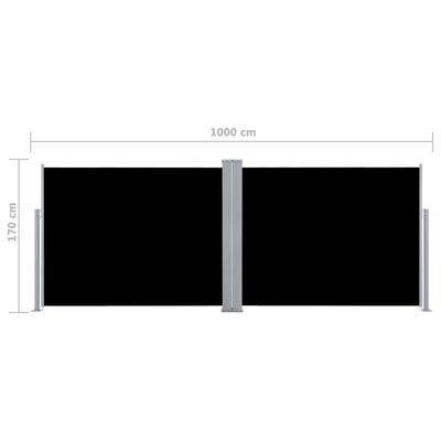 vidaXL Auvent latéral rétractable Noir 170 x 1000 cm