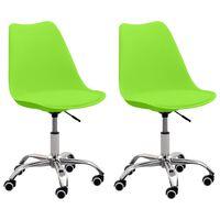 vidaXL Chaises de bureau 2 pcs Vert Similicuir
