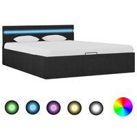 vidaXL Cadre de lit à stockage avec LED Gris foncé Tissu 140x200 cm