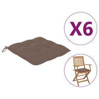 vidaXL Coussins de chaise 6 pcs Taupe 40x40x7 cm Tissu