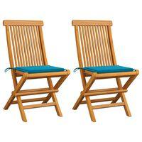 vidaXL Chaises de jardin avec coussins bleu 2 pcs Bois de teck massif