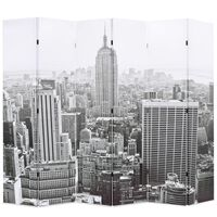 vidaXL Cloison de séparation pliable 228x170 cm New York Noir et blanc