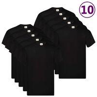 Fruit of the Loom T-shirts originaux 10 pcs Noir XL Coton