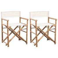 vidaXL Chaise pliable 2 pcs Bambou et toile