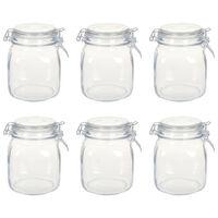 vidaXL Pots en verre avec serrure 6 pcs 1 L