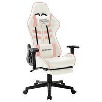 vidaXL Chaise de jeu Blanc et rose Cuir artificiel