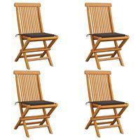 vidaXL Chaises de jardin avec coussins taupe 4 pcs Bois de teck massif