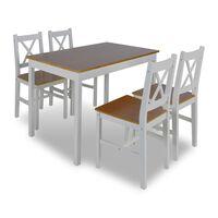 vidaXL Ensemble de salle à manger 5 pcs Marron et blanc