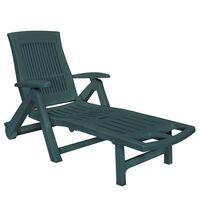 vidaXL Chaise longue avec repose-pied Plastique Vert