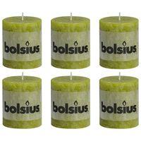 Bolsius Bougies pilier rustiques 6 pcs 80 x 68 mm Vert mousse