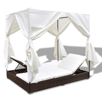 vidaXL Chaise longue d'extérieur avec rideaux Résine tressée Marron