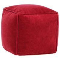 vidaXL Pouf Velours de coton 40 x 40 x 40 cm Rouge rubis