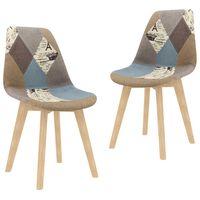 vidaXL Chaises de salle à manger 2 pcs Design de patchwork Gris Tissu