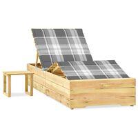 vidaXL Chaise longue de jardin avec table et coussin Pin imprégné