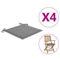 vidaXL Coussins de chaise de jardin 4 pcs Gris 40x40x4 cm