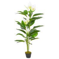 vidaXL Plante artificielle Anthurium avec pot Blanc 155 cm