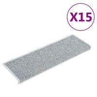 vidaXL Tapis d'escalier autocollants 15 pcs 65x25 cm Bleu