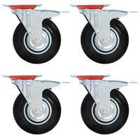vidaXL Roulettes pivotantes avec double frein 4 pcs 125 mm