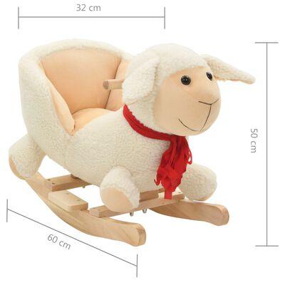 vidaXL Mouton à bascule avec dossier Peluche 60 x 32 x 50 cm Blanc