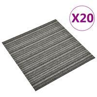 vidaXL Dalles de tapis de sol 20 pcs 5 m² 50x50 cm Anthracite rayé