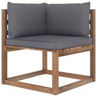 vidaXL Canapé d'angle palette de jardin avec coussins anthracite