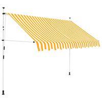 vidaXL Auvent rétractable manuel 250 cm Rayures jaunes et blanches