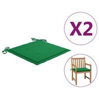 vidaXL Coussins de chaise de jardin 2 pcs Vert 50x50x4 cm