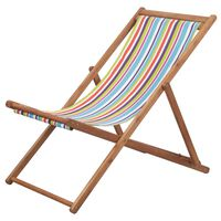 vidaXL Chaise pliable de plage Tissu et cadre en bois Multicolore