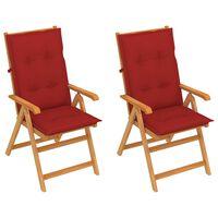 vidaXL Chaises de jardin 2 pcs avec coussins rouge Teck massif